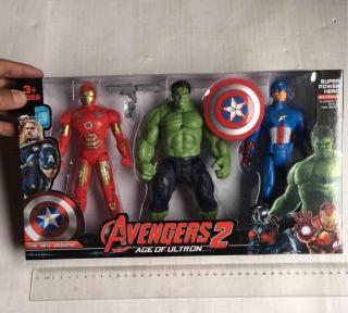 Mô Hình Nhân Vật Biệt Đội Siêu Anh Hùng SUPER POWER HERO, Avenger bộ 3 nhân vật có pin 21x12cm 1 nhân vật thumbnail