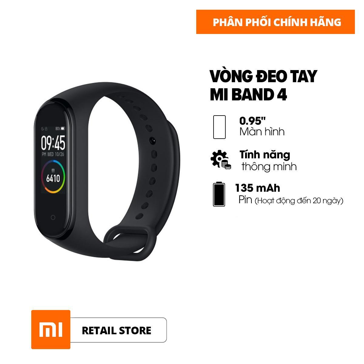 [HÀNG CHÍNH HÃNG - BẢO HÀNH 12 THÁNG] Vòng đeo tay thông minh Xiaomi Mi Band 4 - Màn hình AMOLED 0.95 inch - 6 chế độ tập luyện - Hỗ trợ tiếng Việt - Chống nước 50m
