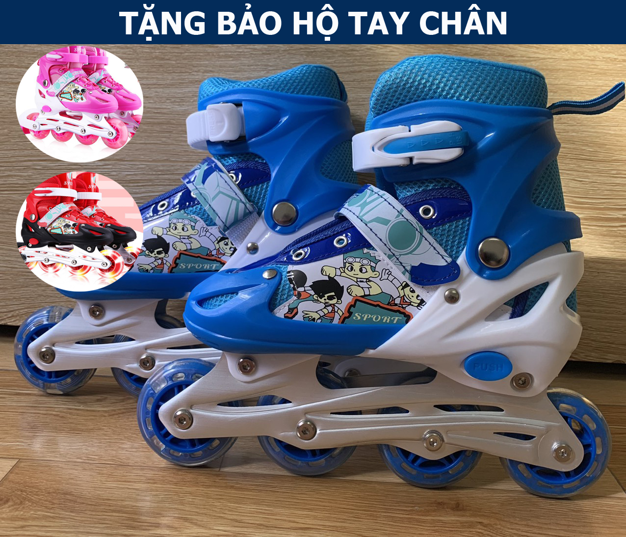 Giày patin trẻ em Sports tặng kèm bảo hộ tay và đầu gối