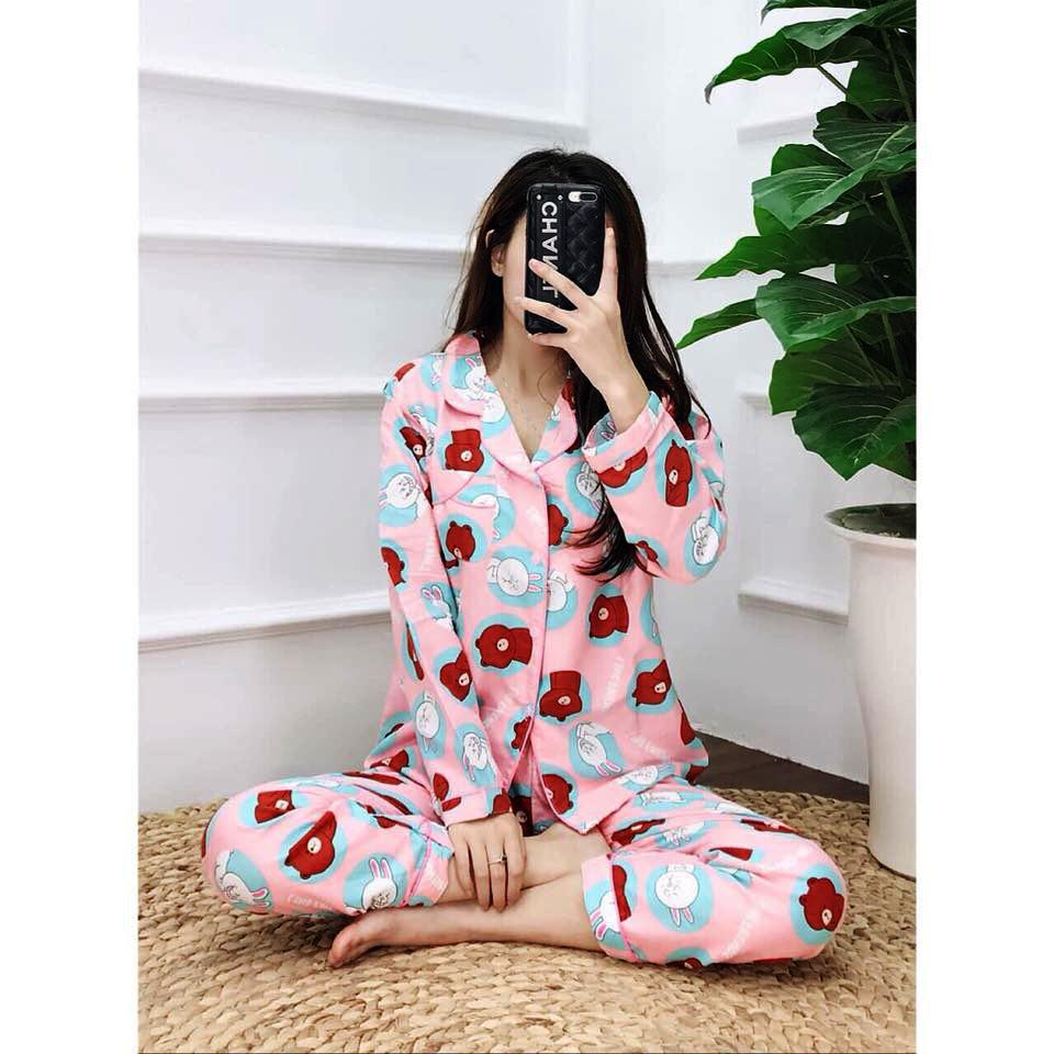 Bộ đồ ngủ pijama dài tay vải Kate mịn và mặc sau sinh- Size M dưới 56kg - Xem kỹ mô tả