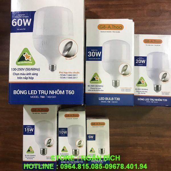 Bóng đèn , bóng điện LED BULB TRỤ 5W 10W 15W 20W 30W 60W G8 tiết kiệm điện