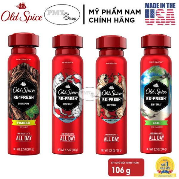 [USA] 1 chai Xịt nước hoa toàn thân nam Old Spice 106g Wolfthorn | Fiji | Timber | Bearglove - Mỹ