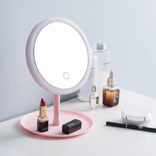 GƯƠNG TRANG ĐIỂM ĐỂ BÀN CẢM ỨNG ĐÈN LED SẠC USB (Nhiê u ma u) - [Gương trang điê m ca m ư ng, Gương đe n trang điê m, Gương trang điê m gâ p go n, gương trang điê m cute dê thương] thumbnail