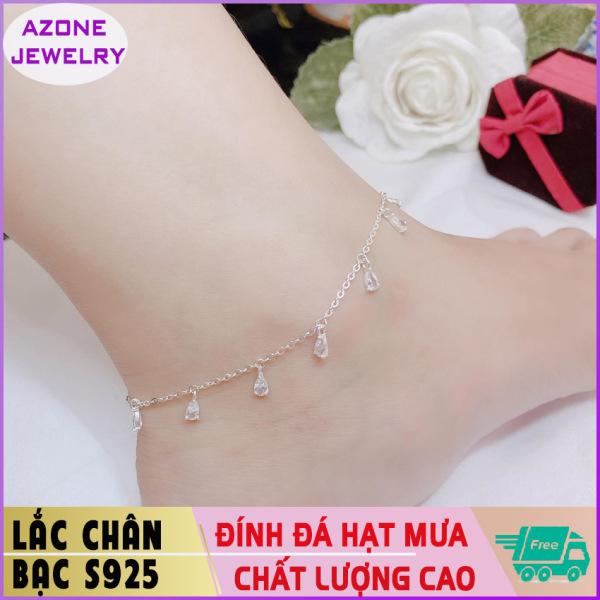 Lắc chân | Lắc chân bạc | Lắc chân nữ đính đá hình giọt nước Bạc S925 [FREESHIP] Hàng đẹp Khóa móc dễ dàng tháo lắp và tùy chỉnh kích thước #AZLC003 - Azone Jewelry