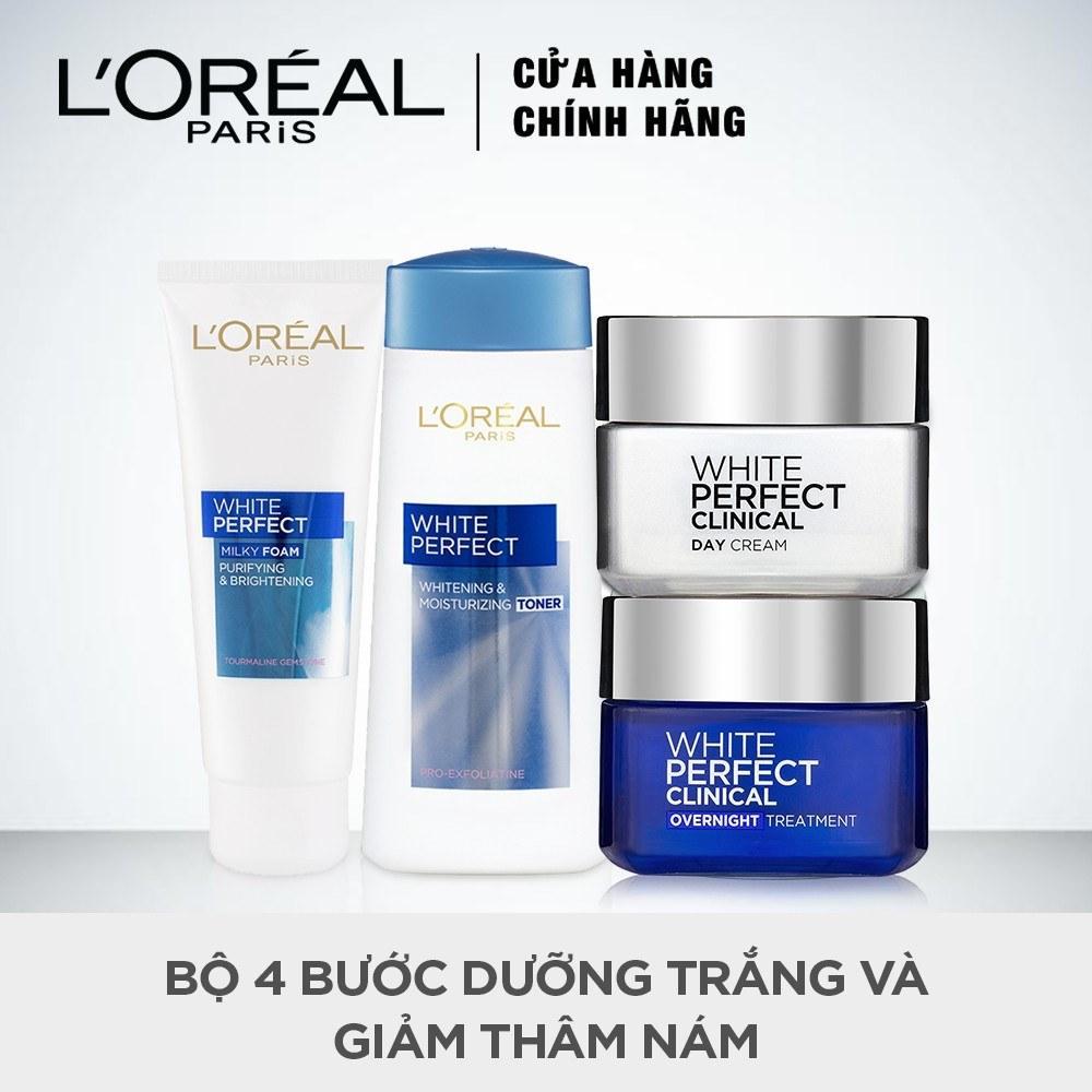 Bộ 4 bước dưỡng trắng và giảm thâm nám LOreal Paris White Perfect Clinical nhập khẩu