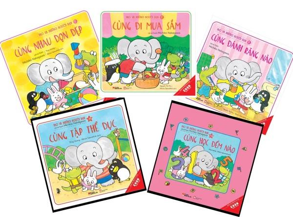 Mua Sách Ehon Cho Bé Từ 0 tuổi Đến 6 Tuổi - Pao Và Những Người Bạn - Combo 5 Cuốn (Cùng Nhau Dọn Dẹp, Cùng Học Đếm, Cùng Đánh Răng, Cùng Đi Mua Sắm, Cùng Tập Thế Dục)