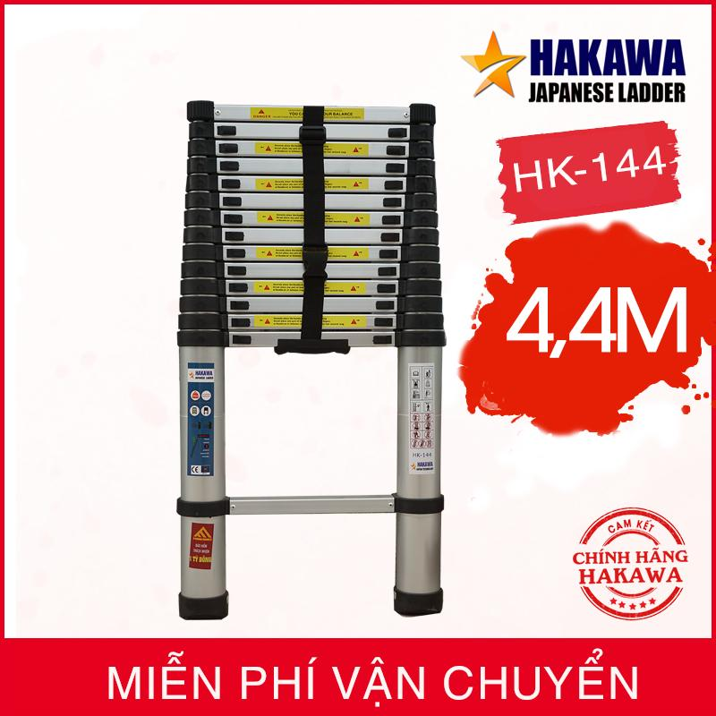 Thang nhôm rút đơn NHẬT BẢN 4m4 HAKAWA HK144 -  Nhỏ gọn, bền bỉ - Bảo hành 2 năm.