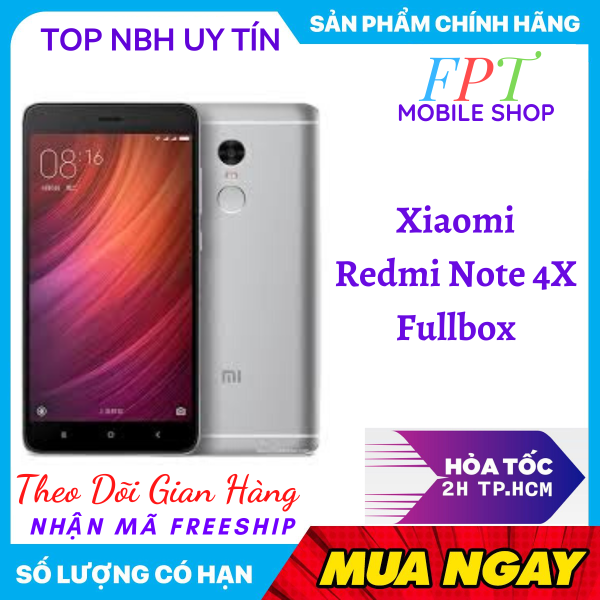 Điện Thoại XIAOMI REDMI NOTE 4X 2 Sim có Tiếng Việt Fullbox Màn hình IPS LCD , 5.5 , Full HD Android 6.0 -Dung lượng pin: 4100 mAh bao đổi 7 ngày tận nhà miễn phí