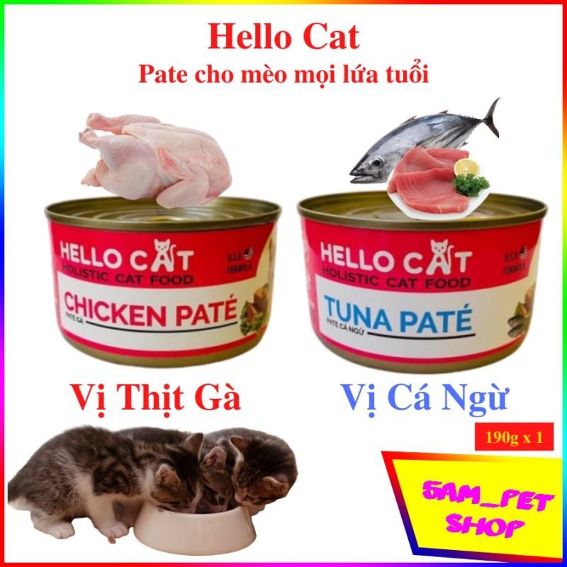 [Lấy mã giảm thêm 30%]Pate cho mèo nhỏ mèo lớn - Hello Cat lon 190gr vị cá ngừ thịt gà - 5am pet shop - Vị cá ngừ