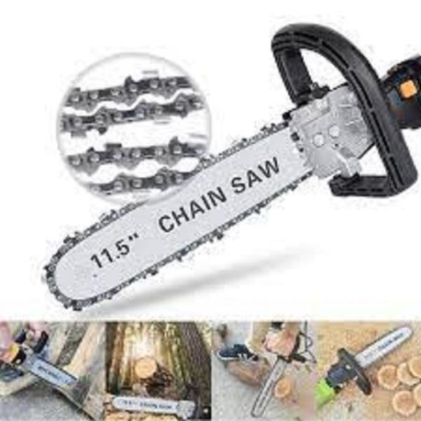 Lưỡi Cưa xích gắn máy mài cầm tay - Cưa gỗ chuyên dụng tra dầu tự động- Bảo hành 24 tháng, Công dụng: lắp vào máy mài để tạo thành máy cưa gỗ Chất liệu lam xích: thép đàn hồi