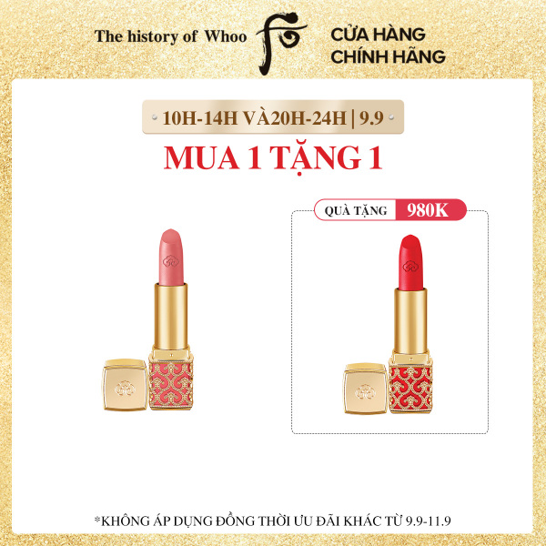 [ĐỘC QUYỀN 9.9-11.9] Son nhung lì Đông y The history of Whoo Gongjinhyang Mi Velvet Lip Rouge 3.5g cao cấp