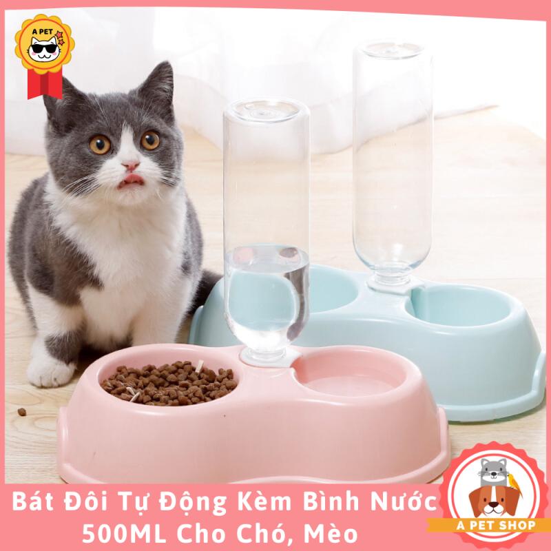Bát Ăn Đôi Cấp Nước Tự Động Kèm Bình Nước 500ml Cho Chó Mèo ( Có Video) - A Pet Shop
