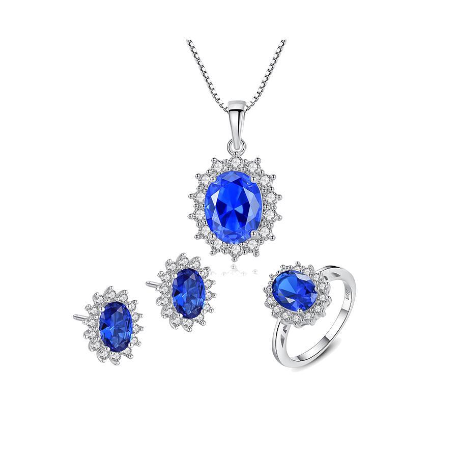 Bộ Trang Sức Bạc Nữ Đính Đá 3 Món Màu Xanh Lam BNT620 Bảo Ngọc Jewelry [ THIẾT KẾ ĐỘC QUYỀN]