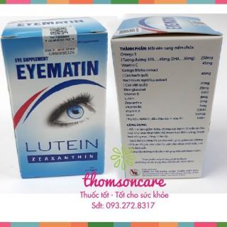 [Lấy mã giảm thêm 30%]Viên uống bổ mắt Eyematin - viên sáng mắt - hỗ trợ tăng cường thị lực chính hãng sản phẩm có nguồn gốc xuất xứ rõ rang dễ dàng sử dụng cam kết sản phẩm y như hình thumbnail