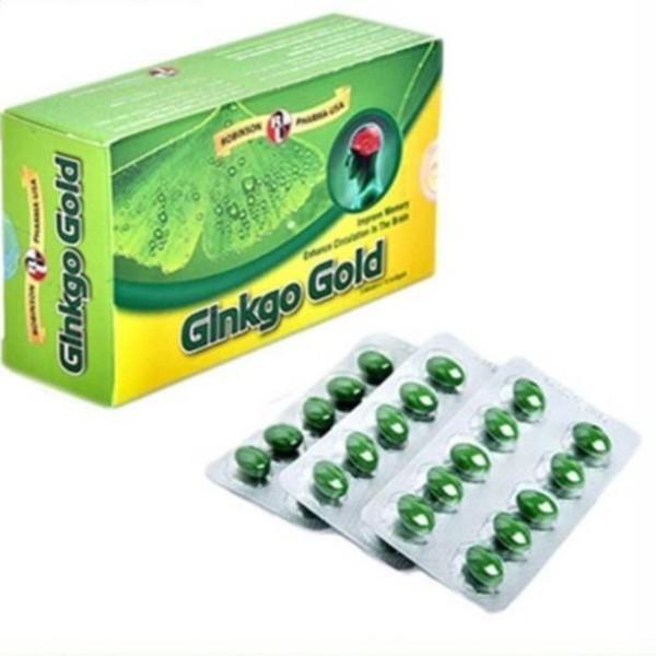 Chính hãng  Viên uống tuần hoàn não, Ginkgo Biloba, tăng cường trí nhớ, giảm stress - Ginkgo Gold - Robinson Pharma USA