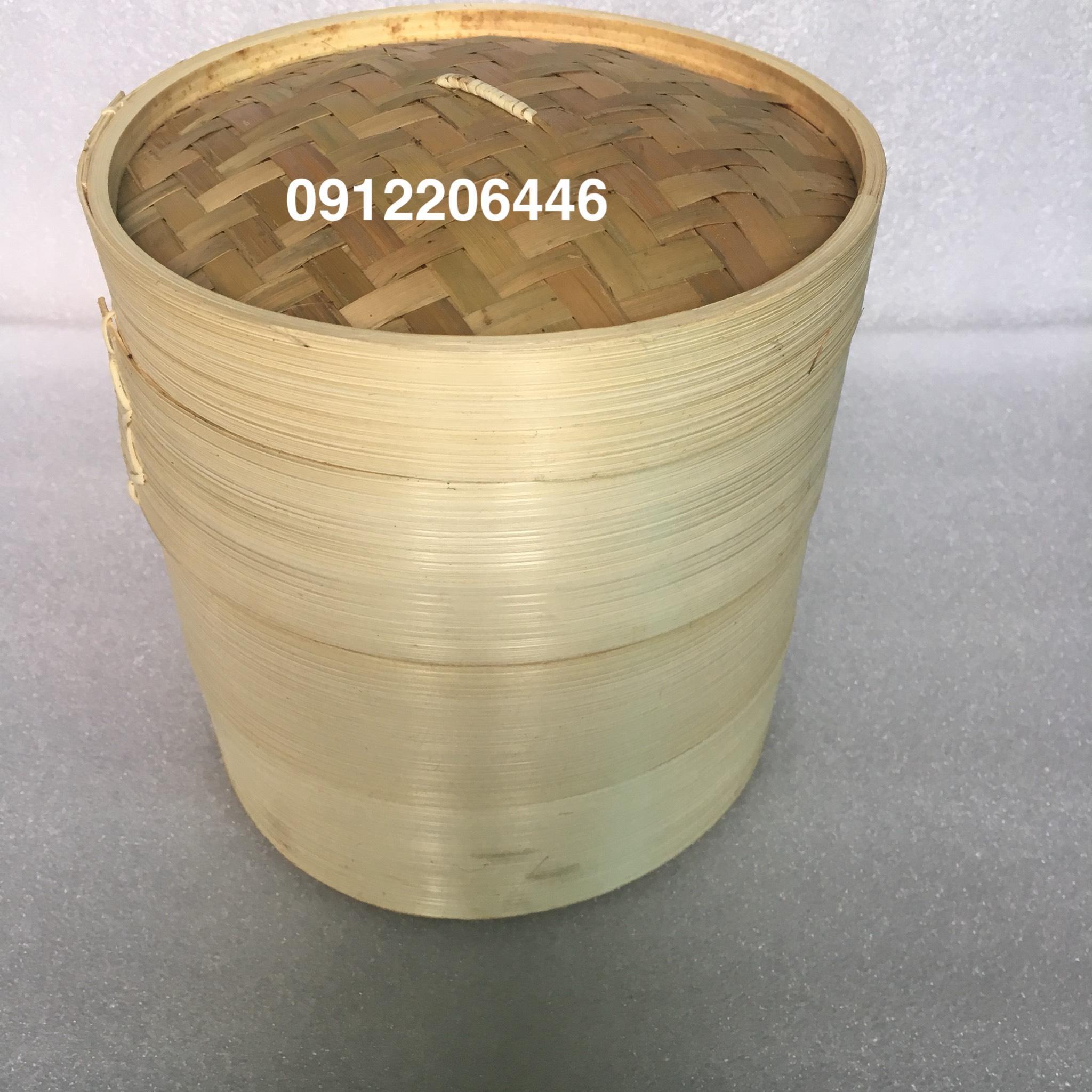 Bộ nồi hấp, xửng tre hấp bánh bao, há cảo 3 ngăn /3 đáy và 1 nắp đường kính 30 cm ( màu vàng nhạt tre nứa tự nhiên)