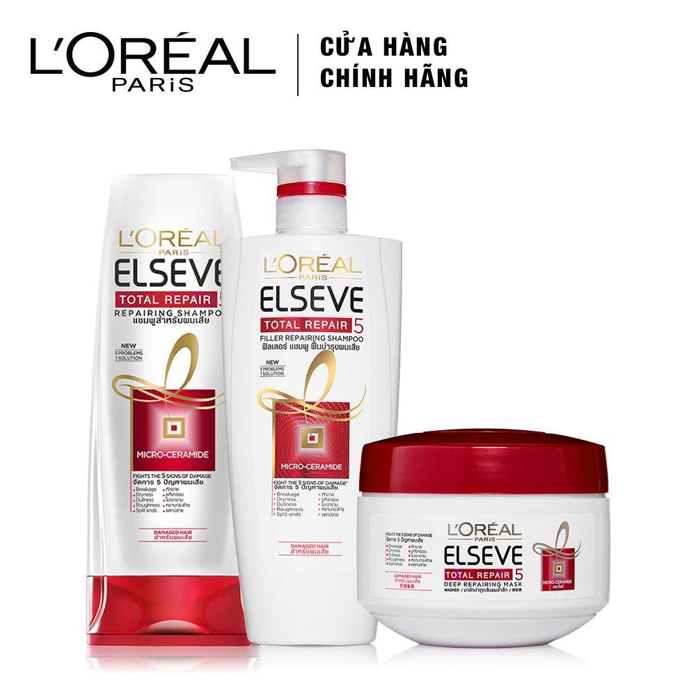 Bộ sản phẩm chăm sóc tóc chống 5 dấu hiệu hư tổn 3 bước LOreal Paris Total Repair 5 nhập khẩu