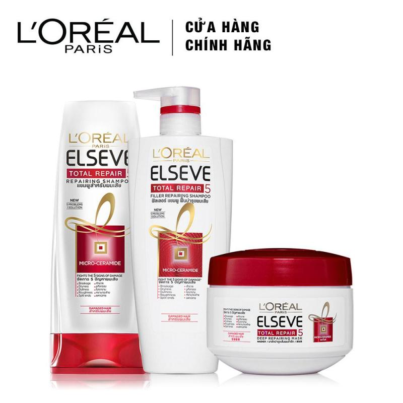 Bộ sản phẩm chăm sóc tóc chống 5 dấu hiệu hư tổn 3 bước LOreal Paris Total Repair 5 cao cấp