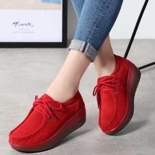 Giày Thể Thao Nữ DOSREAL Giày Đế Xuồng Thời Trang Thường Ngày Giày Đế Xuồng Da Lộn Màu Đen Phong Cách Hàn Quốc Giày Nữ