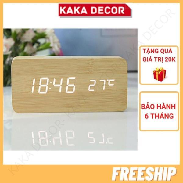 Nơi bán [Freeship+Quà 20k] Đồng hồ led để bàn, đồng hồ báo thức điện tử thông minh giả gỗ cao cấp KaKa Decor