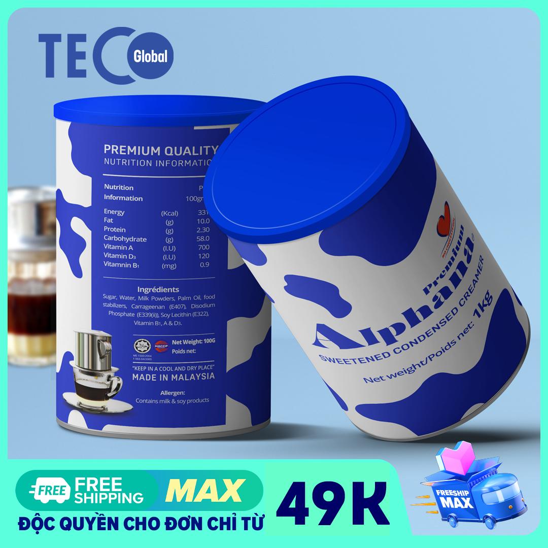 Sữa đặc có đường nhập khẩu Alphana lon 1kg - Thơm ngon béo giàu vitamin A D3 B1