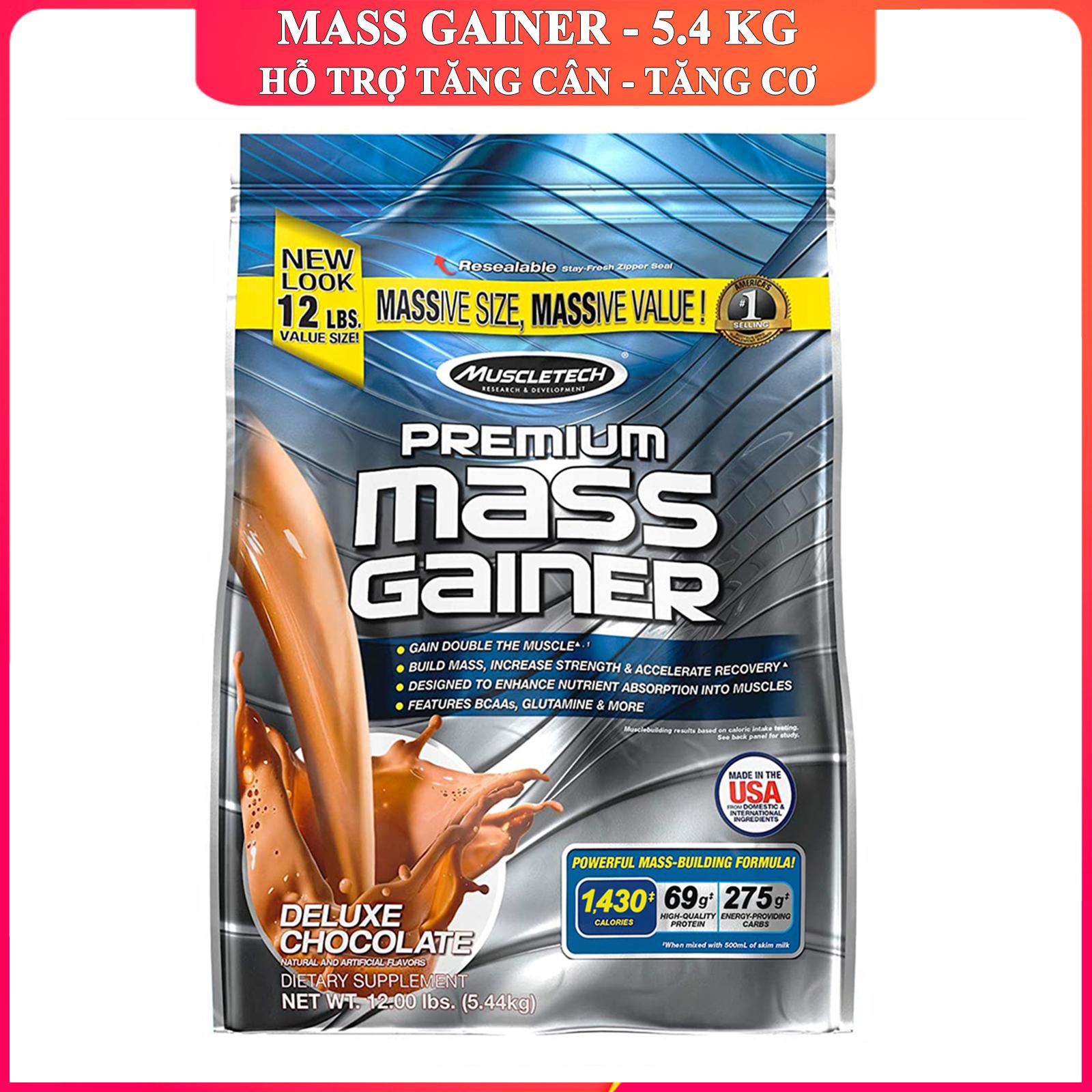 Sữa tăng cân tăng cơ Premium Mass Gainer của Muscle Tech bịch lớn 5.4 kg hỗ trợ tăng cân tăng cơ nạc nhanh cho người tập GYM và chơi thể thao dễ hấp thu không kén người dùng - thuc pham chuc nang