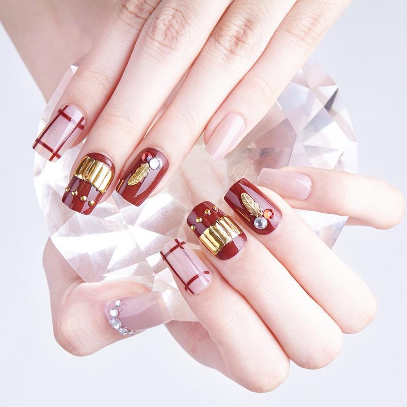 Hộp 24 Móng tay giả , nail giả , móng giả A76 ( Keo sẵn sau các ngón tay ) tốt nhất