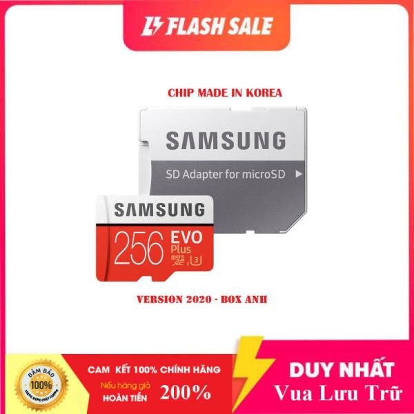 [Flash Sales]  Thẻ nhớ MicroSDXC Class 10 Samsung Plus 256GB Box Anh U3 4K R100MB/s W90 MB/s New 2020 (Đỏ) + Kèm Adapter