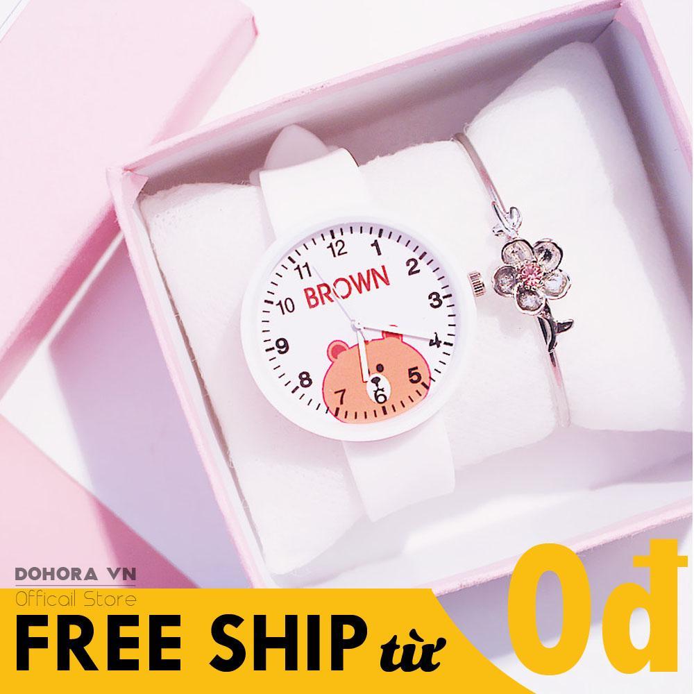 Giá bán Đồng Hồ Thời Trang Cho Bé Gái Candycat Mặt Hình Gấu Màu Nâu Dễ Thương Dây Silicone Cực Bền