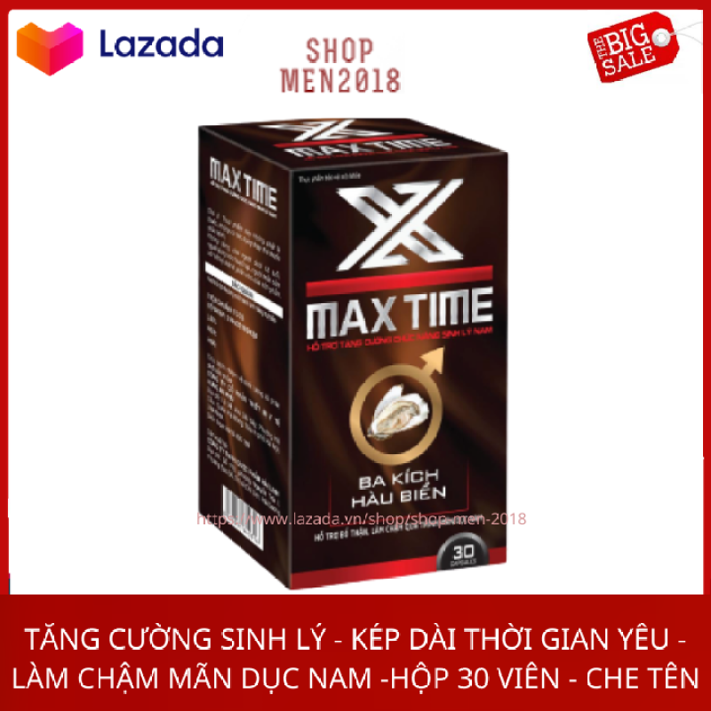 Bổ thận tráng dương nam MAX TIME tăng cường sinh lý kéo dài thời gian quan hệ hộp 30 viên HSD 2023 che tên sản phẩm