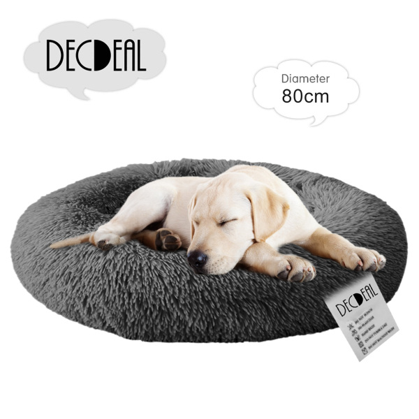 decdeal Soft Plush Round Pet Bed Cat Soft Bed Cat Bed for Cats Dogs