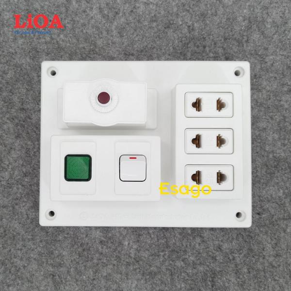 Bảng điện nổi LiOA 15A có 3 ổ cắm 1 công tắc 1 đèn báo màu xanh