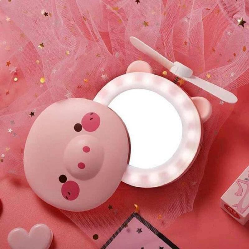 [SALE GIÁ SỐC] Gương soi mini thú cưng Hình Heo màu hồng kèm đèn, quạt siêu đáng yêu cao cấp