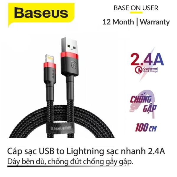 Cáp sạc Baseus sạc nhanh và truyền dữ liệu tốc độ cao Cafule Lightning cho iPhone/ iPad 2,4A  - Bảo hành 12 tháng, Sạc nhanh, Siêu bền