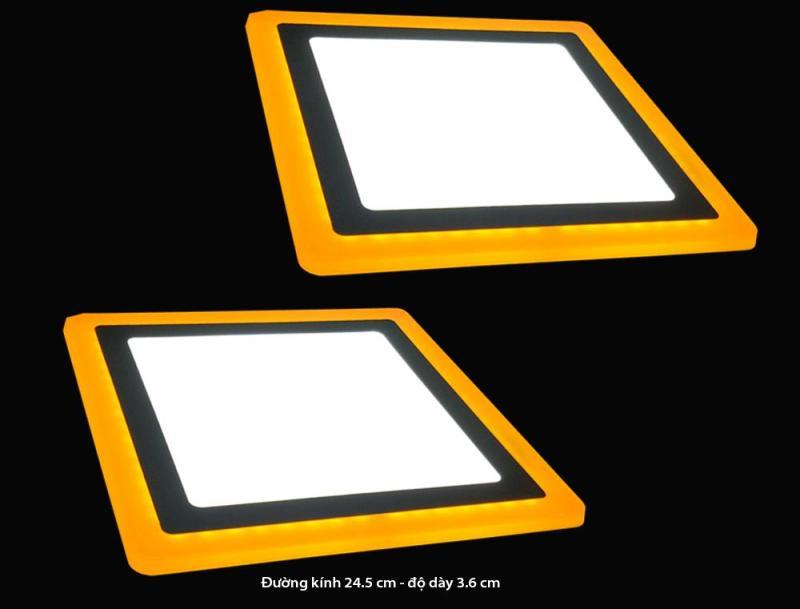 Bộ 2 đèn led nổi ốp trần 24w vuông 2 màu 3 chế độ ánh sáng trắng vàng