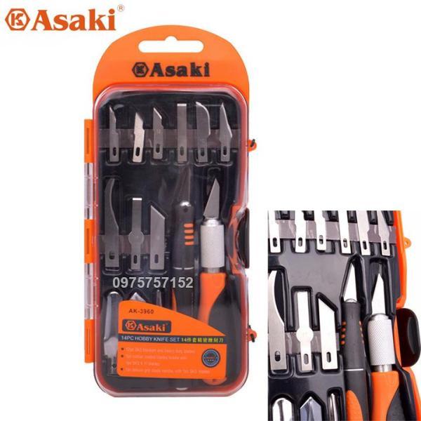 Bộ dao điêu khắc, chạm, trổ, tách, ghép cao cấp 14 chi tiết Asaki AK-3960