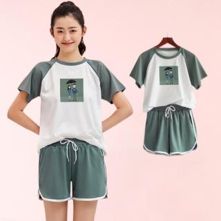 Bộ quần áo thể thao quần đùi áo ngắn tay nữ phong cách cá tính cao cấp - A16 thumbnail