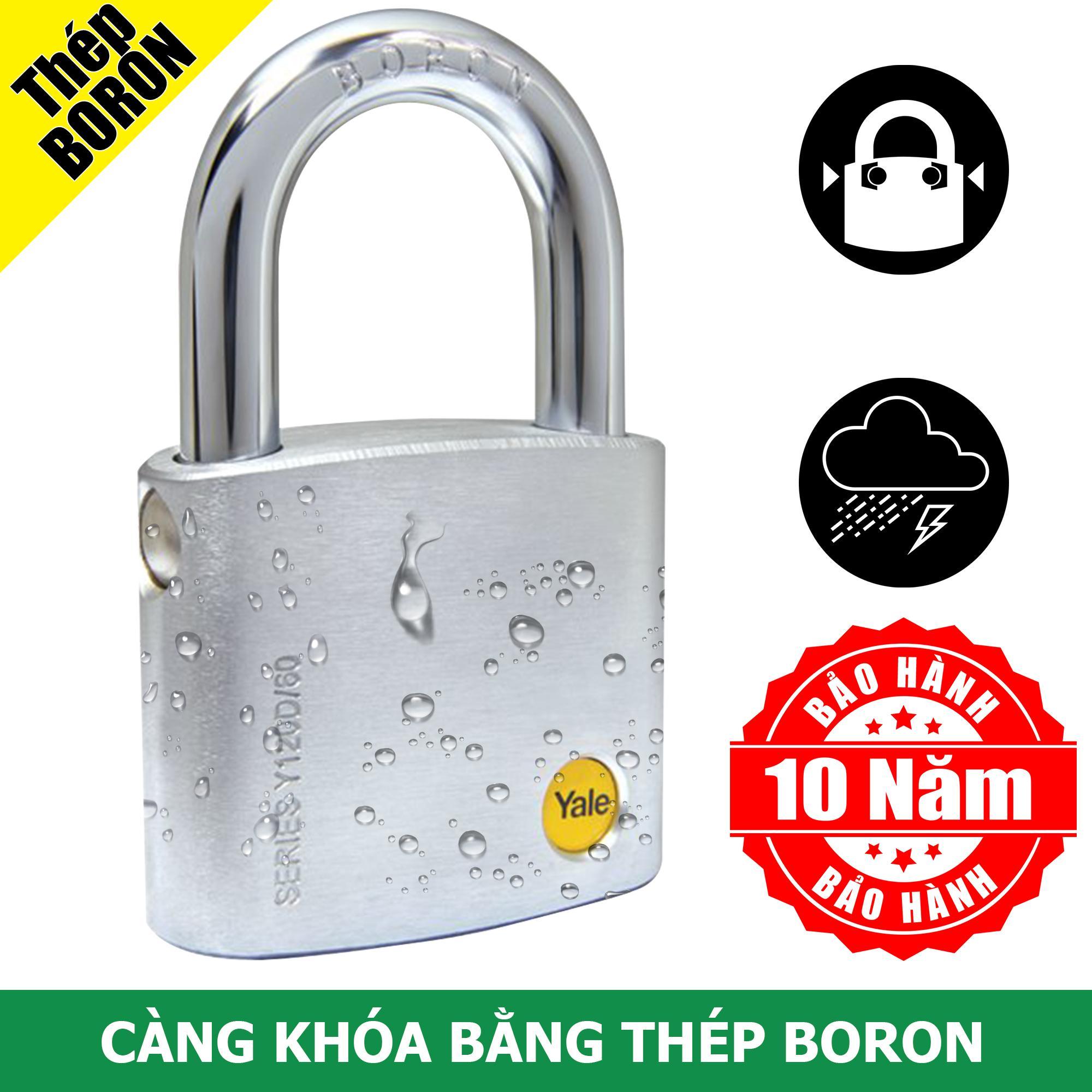 Ổ khóa cửa chịu được mưa ướt có càng khóa bằng thép Boron rất cứng Yale Y120D/60/135/1