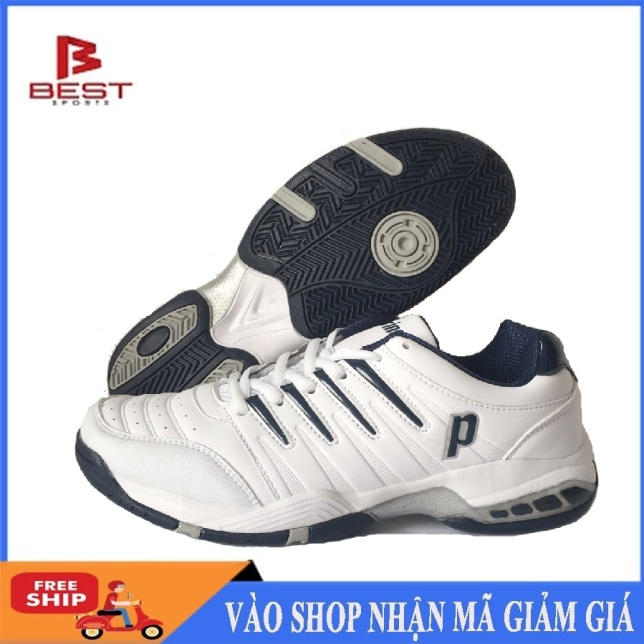 Giày tennis nam Prince mẫu mới, êm ái, thoáng khí, hàng có sẵn, dành cho nam, màu trắng đủ size - Giầy thể thao tennis - Giầy nam - shop thể thao giá rẻ