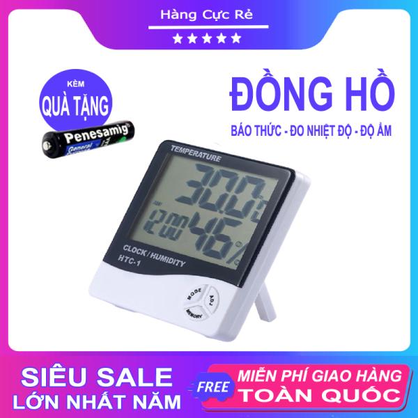 Nơi bán Đồng hồ đo nhiệt độ, độ ẩm - Đồng hồ điện tử để bàn màn hình số LCD phiên bản có báo thức + Tặng kèm 1 Pin AAA - Shop Hàng Cực Rẻ