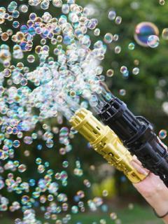 Súng bắn xà phòng 8 nòng [FREE SHIP] Đồ chơi phun bong bóng ngoài trời thổi bọt mạnh mẽ cho bé vui chơi ngoài trời Dũng Dũng 5 2