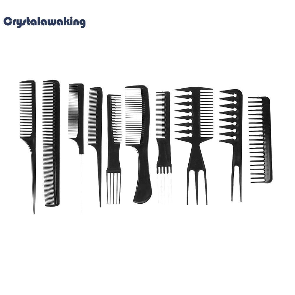 【Crystalawaking】10 cái Pro Tóc Làm Tóc Thợ Cắt Tóc Chải-quốc tế nhập khẩu