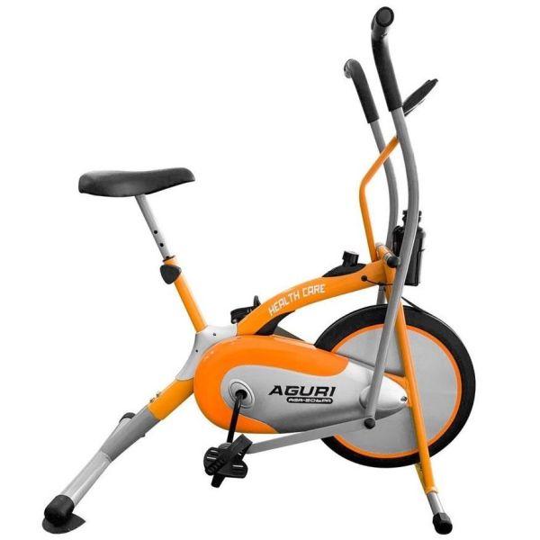 Xe đạp tập thể dục tại nhà đa năng AGURI 206 giá rẻ, tặng kèm bó gối và con lăn tập bụng 2 bánh AB Wheel