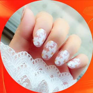 Bộ 24 móng tay giả hoa cúc trắng nail giả đẹp hot trend móng giả bộ móng tay giả móng tay giả hoa cúc có keo sẵn XP-MT021 thumbnail