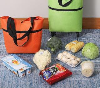 Xe kéo đi chợ dạng túi dài có bánh xe , túi xách gắn bánh xe kéo, túi đi chợ có bánh xe dùng đi chợ, siêu thị- XE KÉO ĐI CHỢ THÔNG MINH thumbnail
