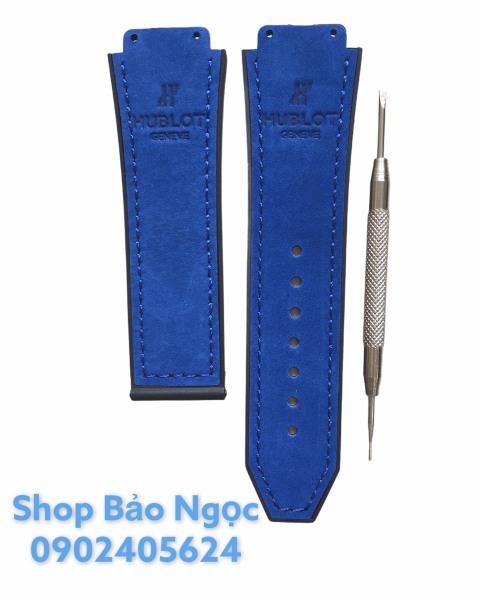 GIÁ SỬNG SỐT  Dây đồng hồ cao cấp Hublot case 42- da lộn xanh dương cho đồng hồ size 19-25-22mm da lộn xanh dương bán chạy