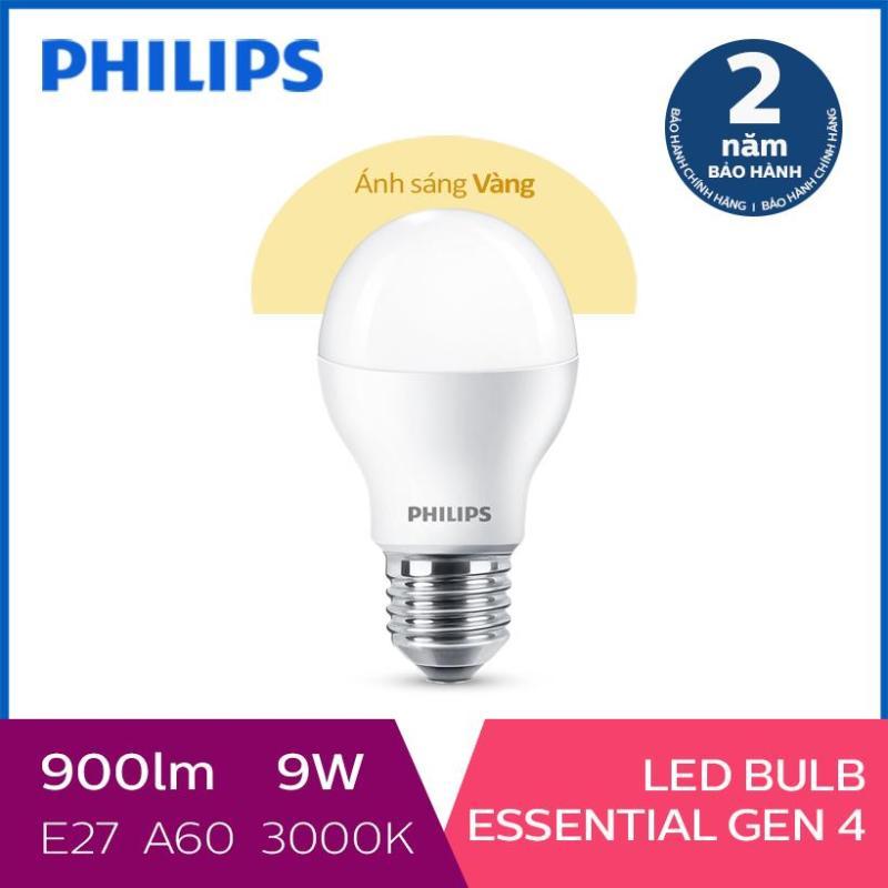 Bóng đèn Philips LED siêu sáng tiết kiệm điện Essential Gen4 9W E27 A60