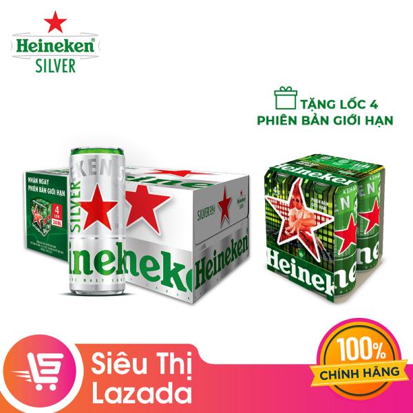 Thùng 24 lon bia Heineken Silver tặng Lốc 4 lon Heineken phiên bản giới hạn 330ml/lon