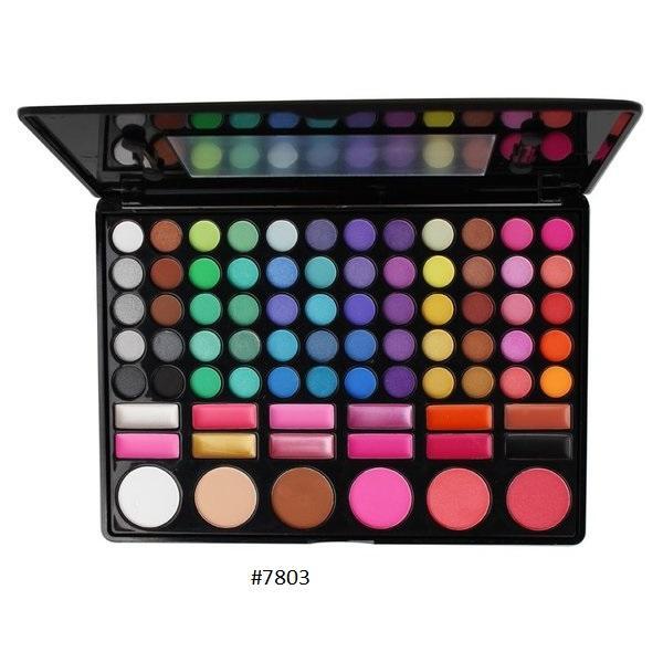 Bộ phấn trang điểm đẹp 78 ô gồm 60 màu phấn mắt, 3 màu má hồng, 12 màu son môi và 3 màu tạo khối cao cấp