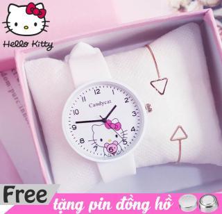 đồng hồ dây cao su Candycat hình Hello Kitty cực xinh, dây cao su mềm dẻo được tặng 1 viên pin kèm theo thumbnail